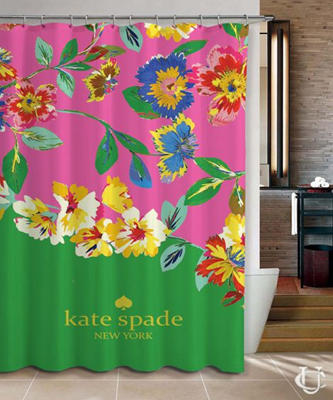 Kate Spade Floral Pink Our Floral Pattern Green Shower Curtain