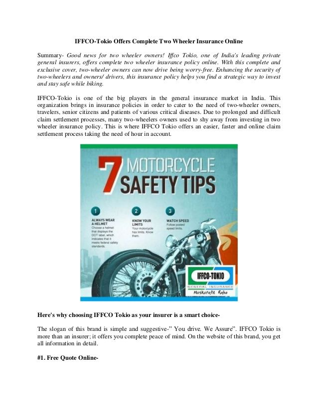 Iffco Tokio Two Wheeler Insurance Policy By Jessicakappor Via