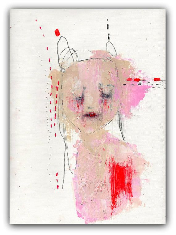 """Christina Romeo; Portrait Painting, Original Acrylic Mixed Media  Painting with Embroidery  9 x 11.....""""Glory"""""""