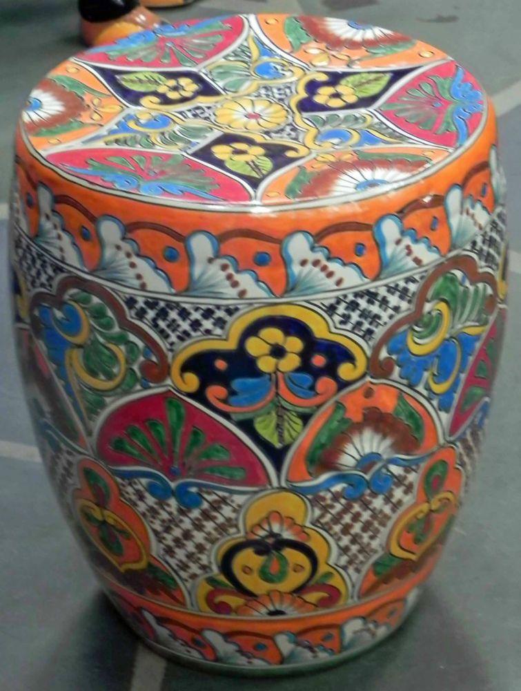 Wonderful Large Mexican Talavera Stool/ Table Multicolor Hand Made Garden Decor