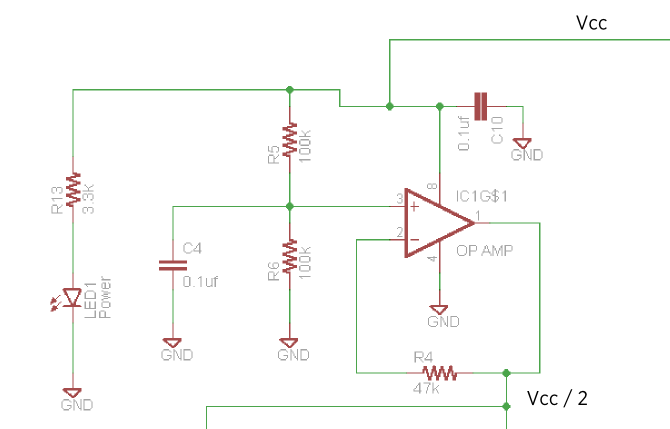 The schematic of the virtual ground section for the Stella amp ...
