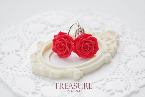 Rosa rossa orecchini Orecchini Rose rosse orecchini fiore