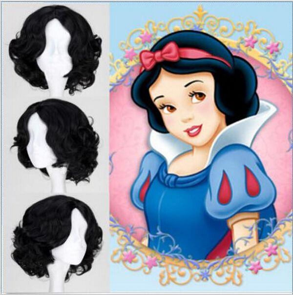Halloween Holiday Dressed Up Snow White Princess Wig Full Lace Curly Wave Black Short Hair Disney Princess Snow White Disney Princess Anime Snow White Cosplay