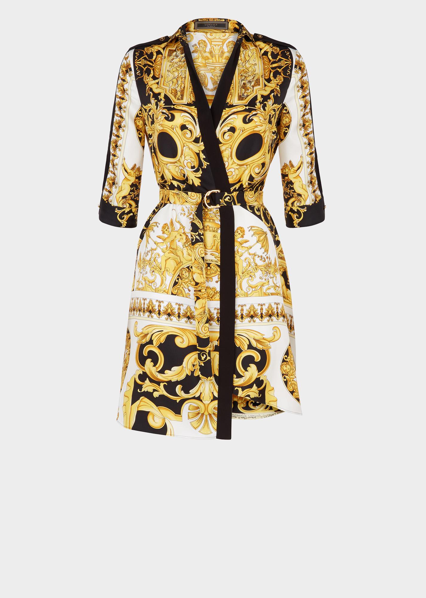 Soie Barocco Uixpzk Chemise Robe En Imprimé Ss'92 Versace Femme 34jAL5R