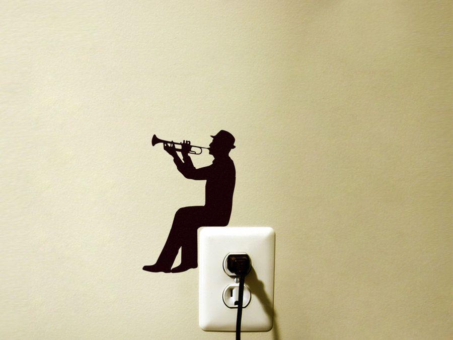 Light Switch Velvet Sticker - Trumpet Wall Decal - Music Wall Art ...