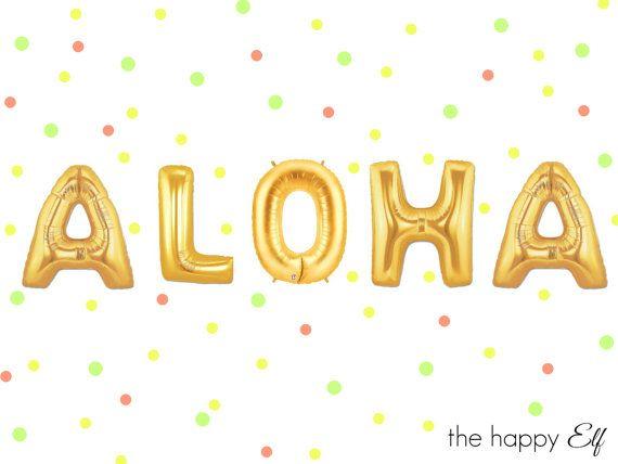 16 ALOHA balloons/banner. Aloha balloon. by thehappyelfshop