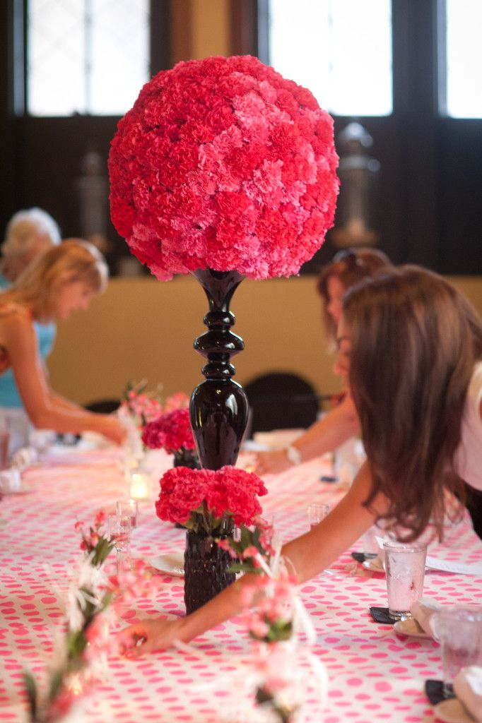Extra Large Carnation Ball Centerpiece Hot Pink On Black Tall Vase