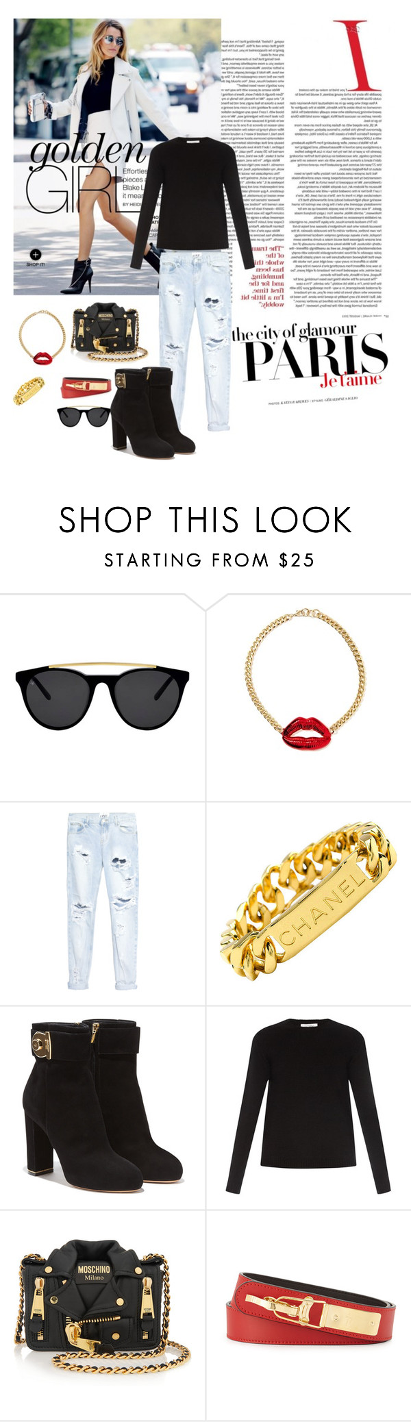 """""""#A"""" by deame ❤ liked on Polyvore featuring H&M, Smoke & Mirrors, One Teaspoon, Chanel, Salvatore Ferragamo, Valentino, Moschino, Giuseppe Zanotti, women's clothing and women's fashion"""
