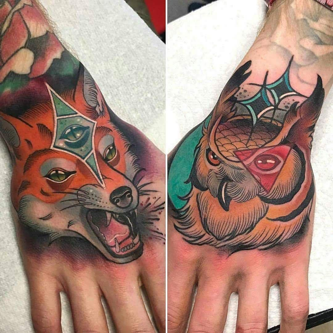 Foxy Owl By Babyknowles At Studioixmanchester In Manchester England Fox Owl Handtattoo Babyknowles Tattoos For Guys Hand Tattoos For Guys Hand Tattoos