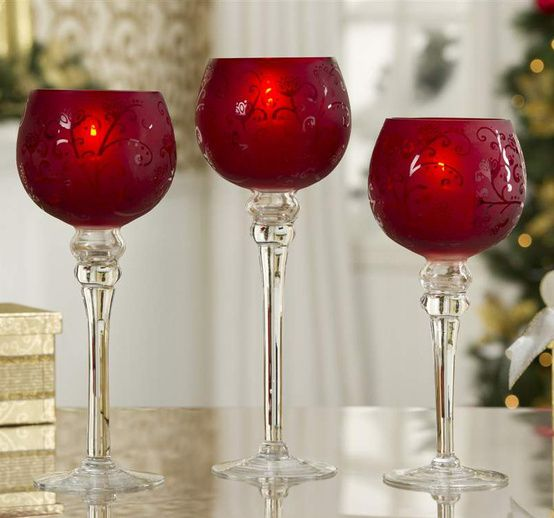 Christmas Candle Holders | Red candle holders, Candle holder set ...