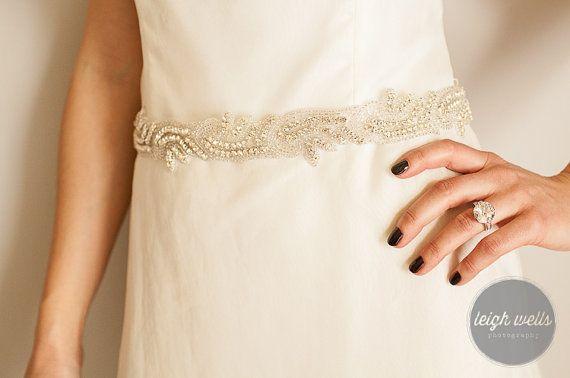 Rhinestone Sash Bridal sash Pick your color satin ribbon tie sash vintage style weddings, Custom orders welcome! by LavenderRoseAcc,