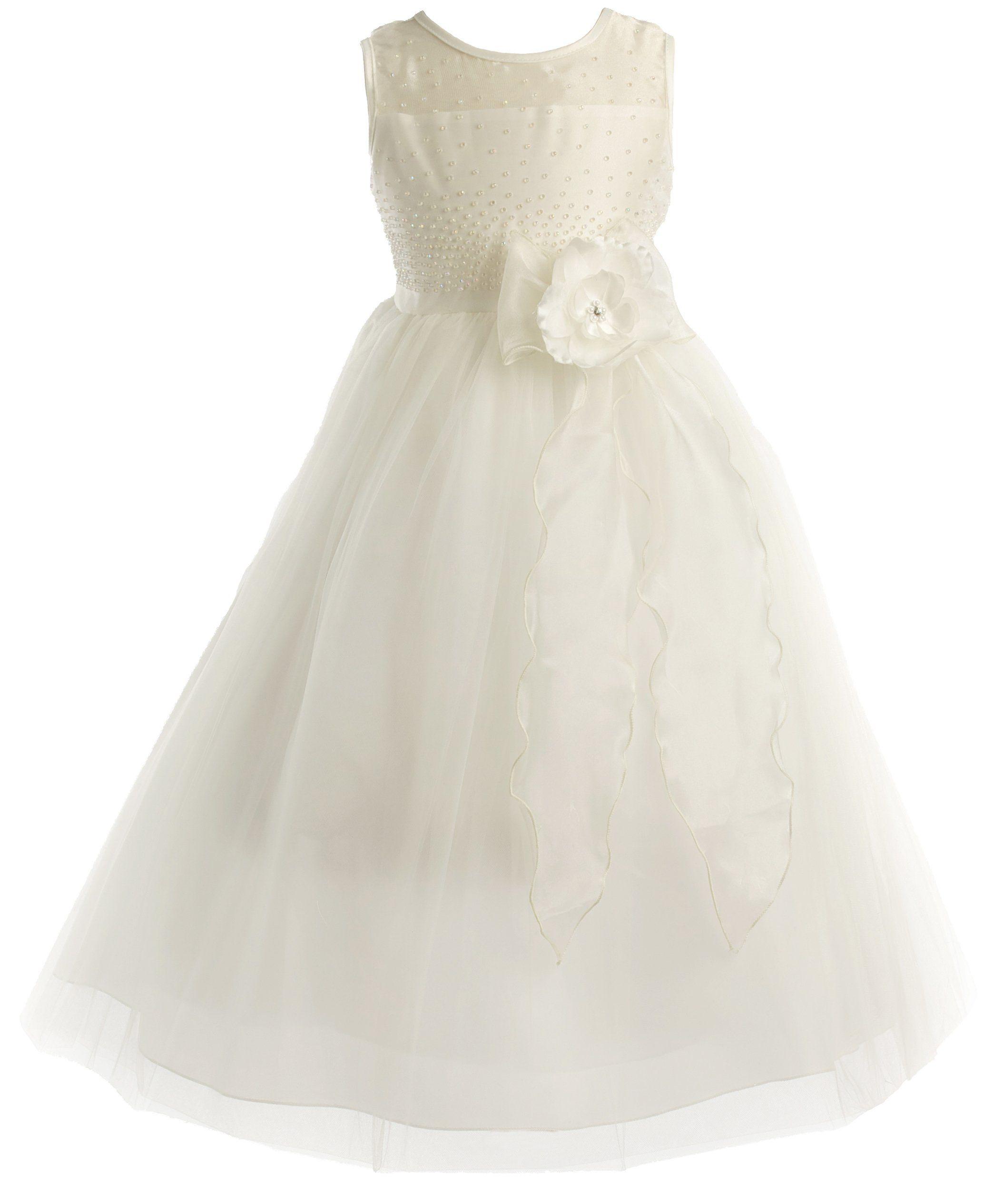 Peekaboo pearl bodice communion flower girl pageant long dress