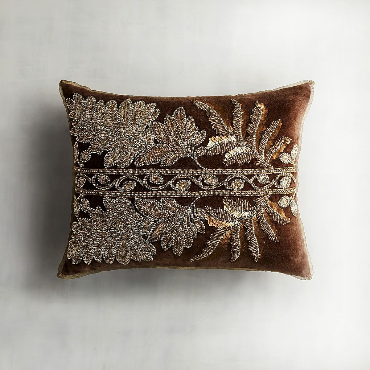 Chocolate Beaded Gilded Leaves Pillow Pier 1 Imports Pillows