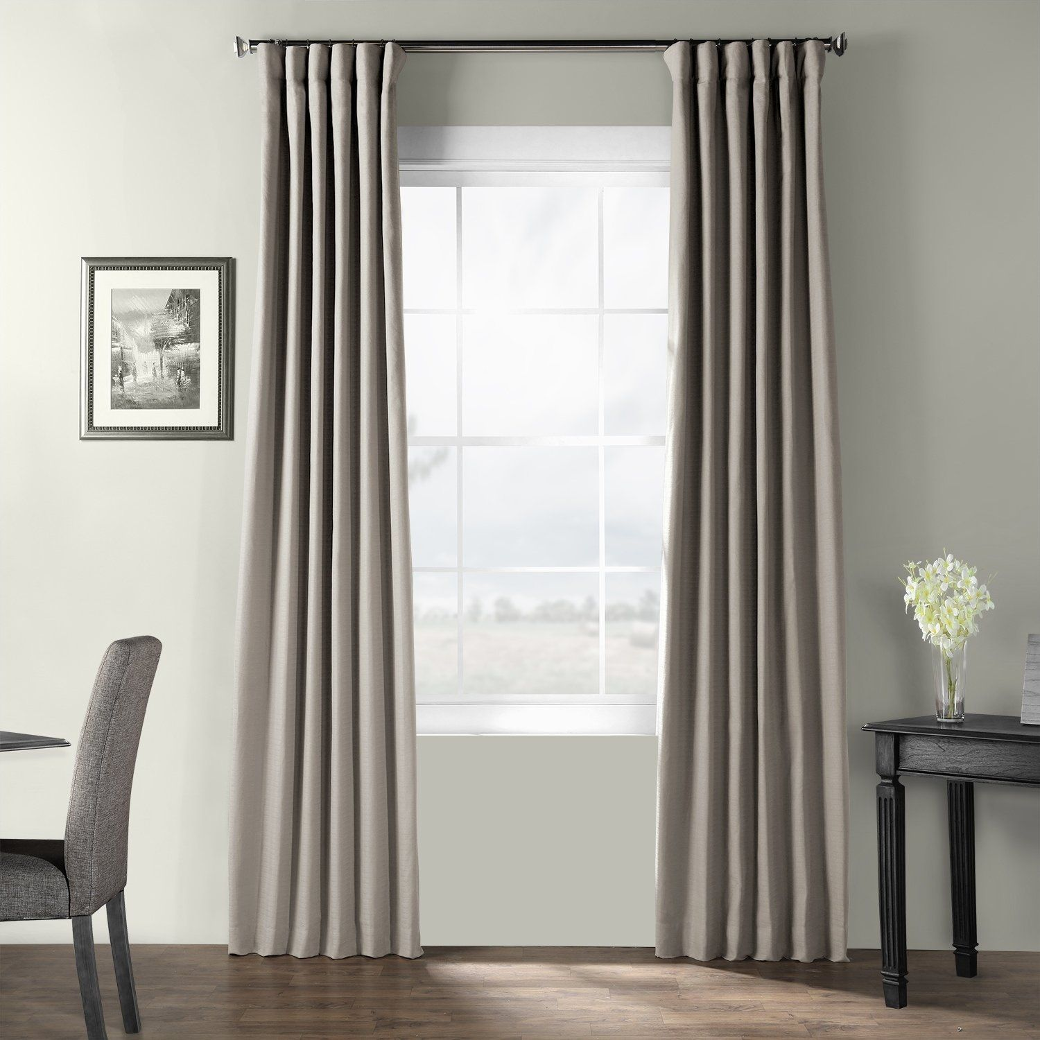 Exclusive Fabrics Bark Weave Solid Cotton Curtain Panel Curtains