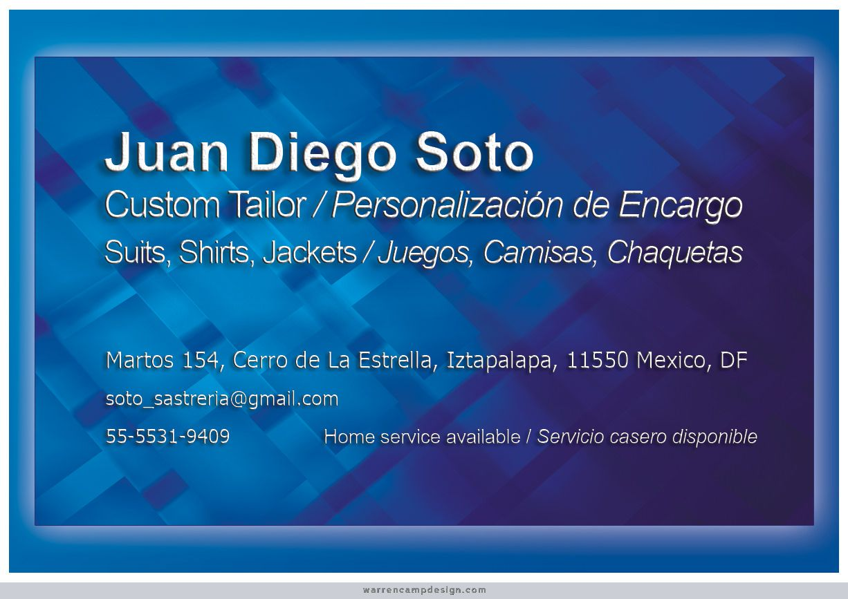 Tailor For A Client In Mexico Whos Custom Men Warren Chose Blue Fabric Background This Simple Single Sided Business Card