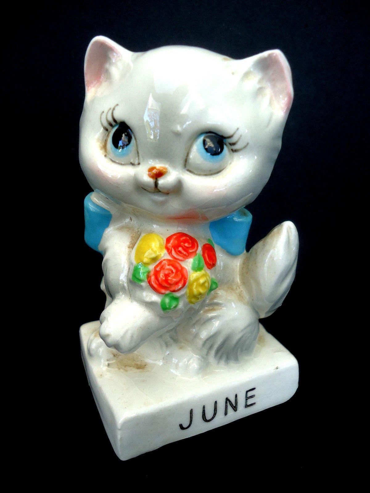 RARE June Birthday Cat Statue Norcrest White Kitten Blue Eyes Flower ...