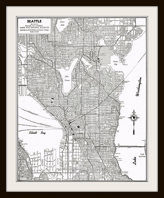 Antique Map SEATTLE Washington Buy 3 maps Get 1 FREE