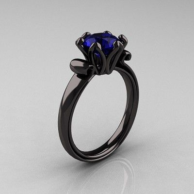 Antique 14K Black Gold 1.5 CT Blue Sapphire Designer Engagement Ring AR127-14KBGBS..Oh my! i want this!!
