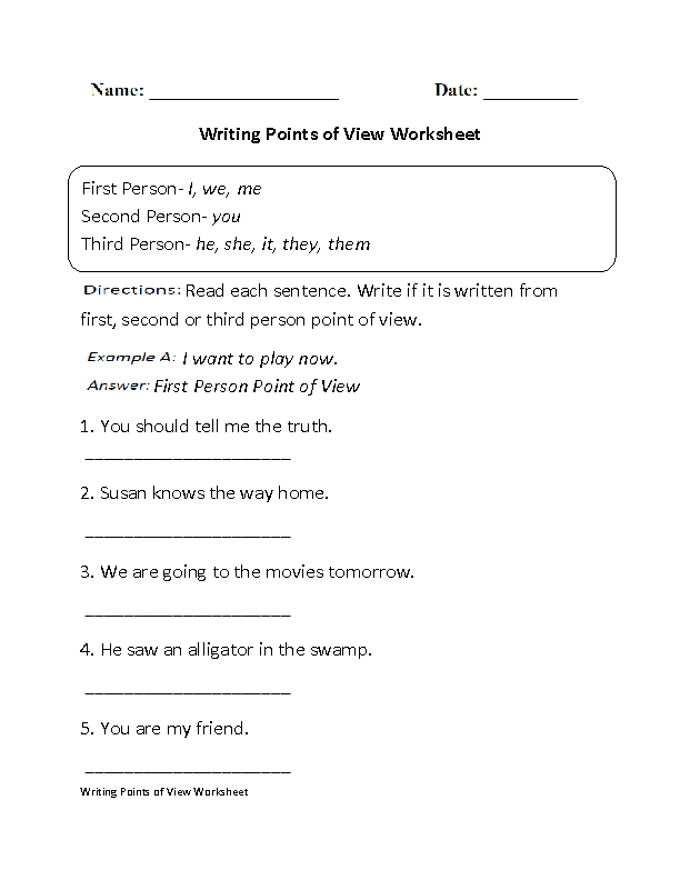 writing points of view worksheet