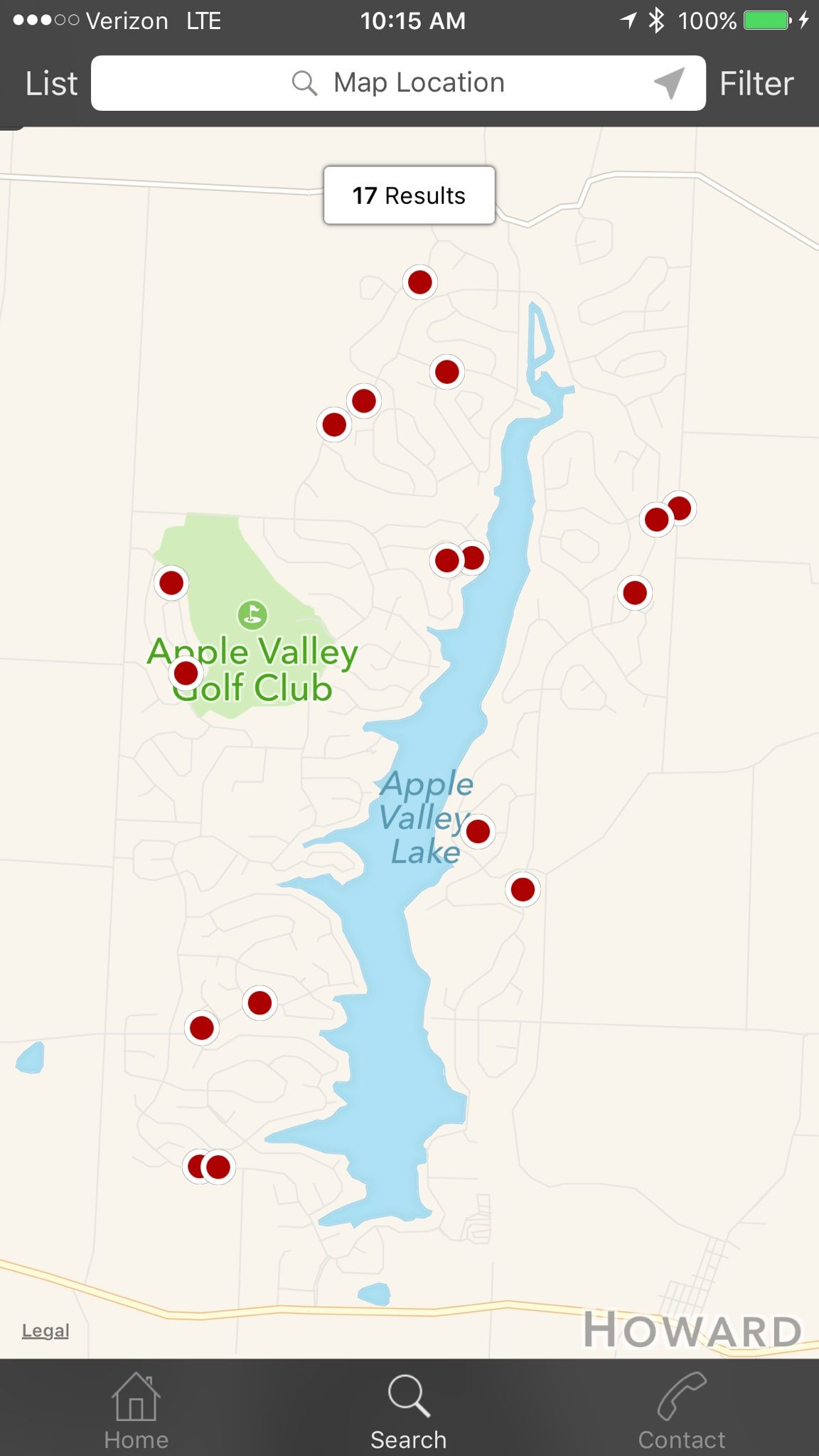 The map search feature on our Apple Valley Lake Real