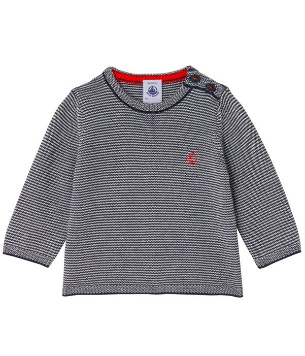 Pull bébé garçon en tricot rayé milleraies Petit Bateau bleu 098f239bafc