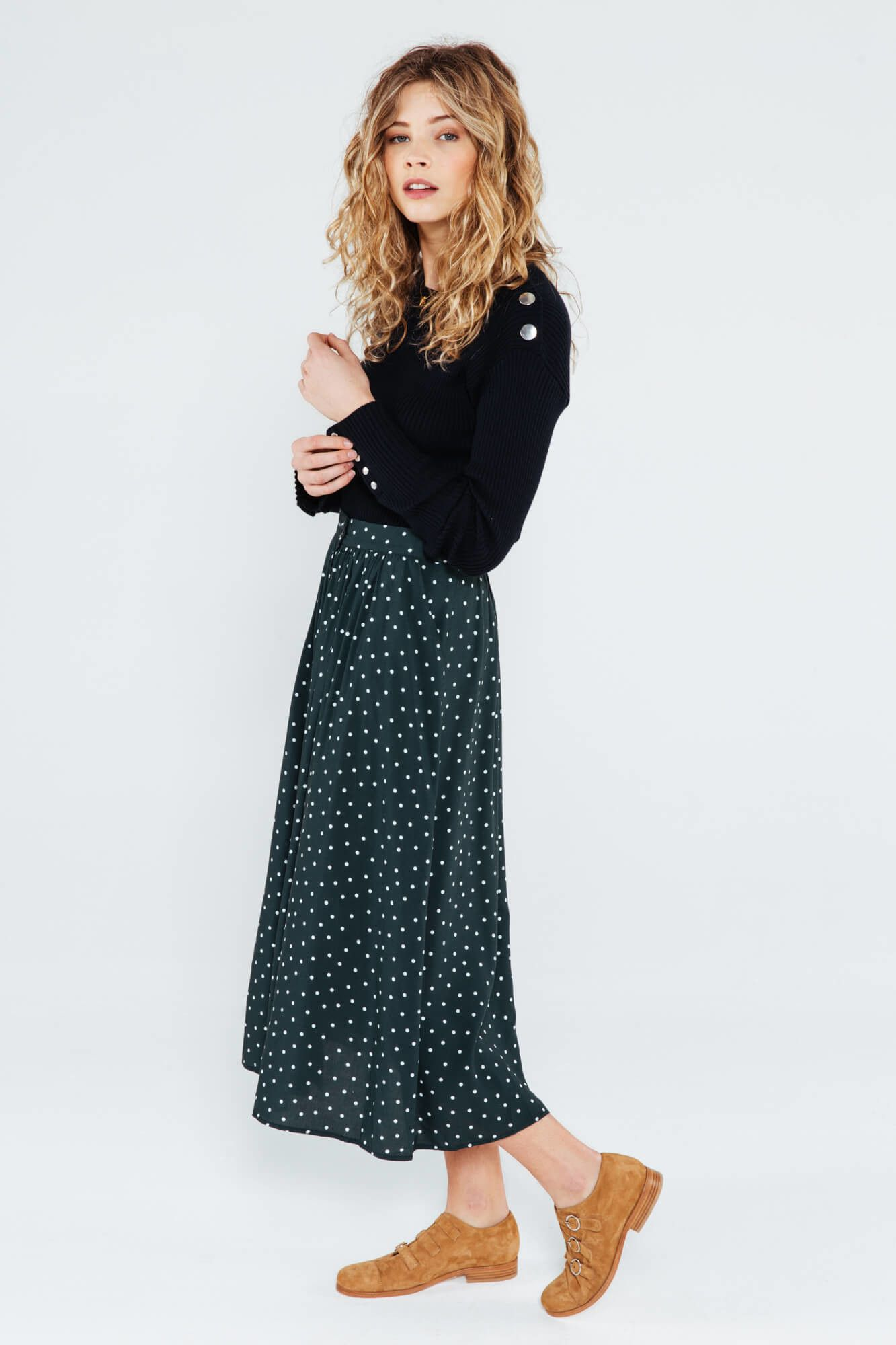 1c574af0da1997 jupe longue femme a pois vert   Style   Jupe longue femme, Jupes à ...