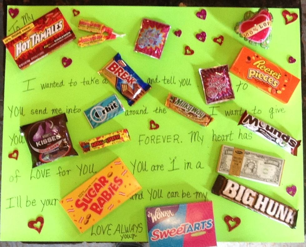 Valentines day candy bar poster I made   Mushy Love Stuff ...