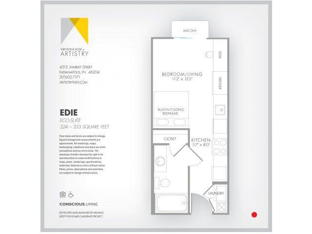 Studio 1 Bath Apartment In Indianapolis In Artistry Apartments Studio Apartment Floor Plans Micro Apartment Apartment