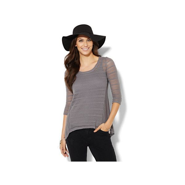 Hi-Lo Pointelle-Knit Top ($18) ❤ liked on Polyvore featuring tops, scoop neck top, 3/4 sleeve tops, 3/4 length sleeve tops, new york & company y three quarter sleeve tops