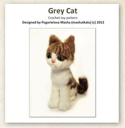 Grey Cat - pdf crochet toy pattern (amigurumi kitten pattern ...