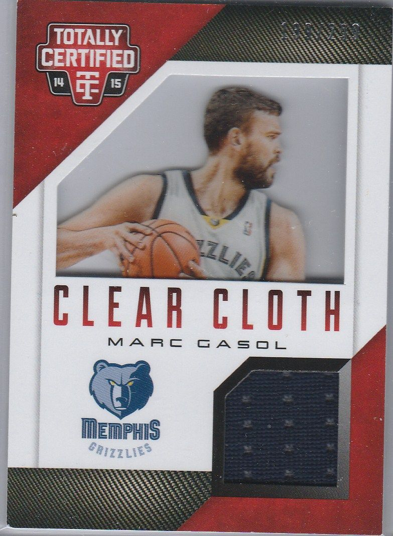 2014-15 Totally Certified Clear Cloth Jerseys Red #77 Marc Gasol #D/299