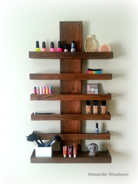 Makeup Organizer Wall Mounted Makeup Shelf Nail Polish Shelf Makeup Brush Holder Makeu Makeup Shelves Diy Makeup Brush Holder Makeup Brush Organization