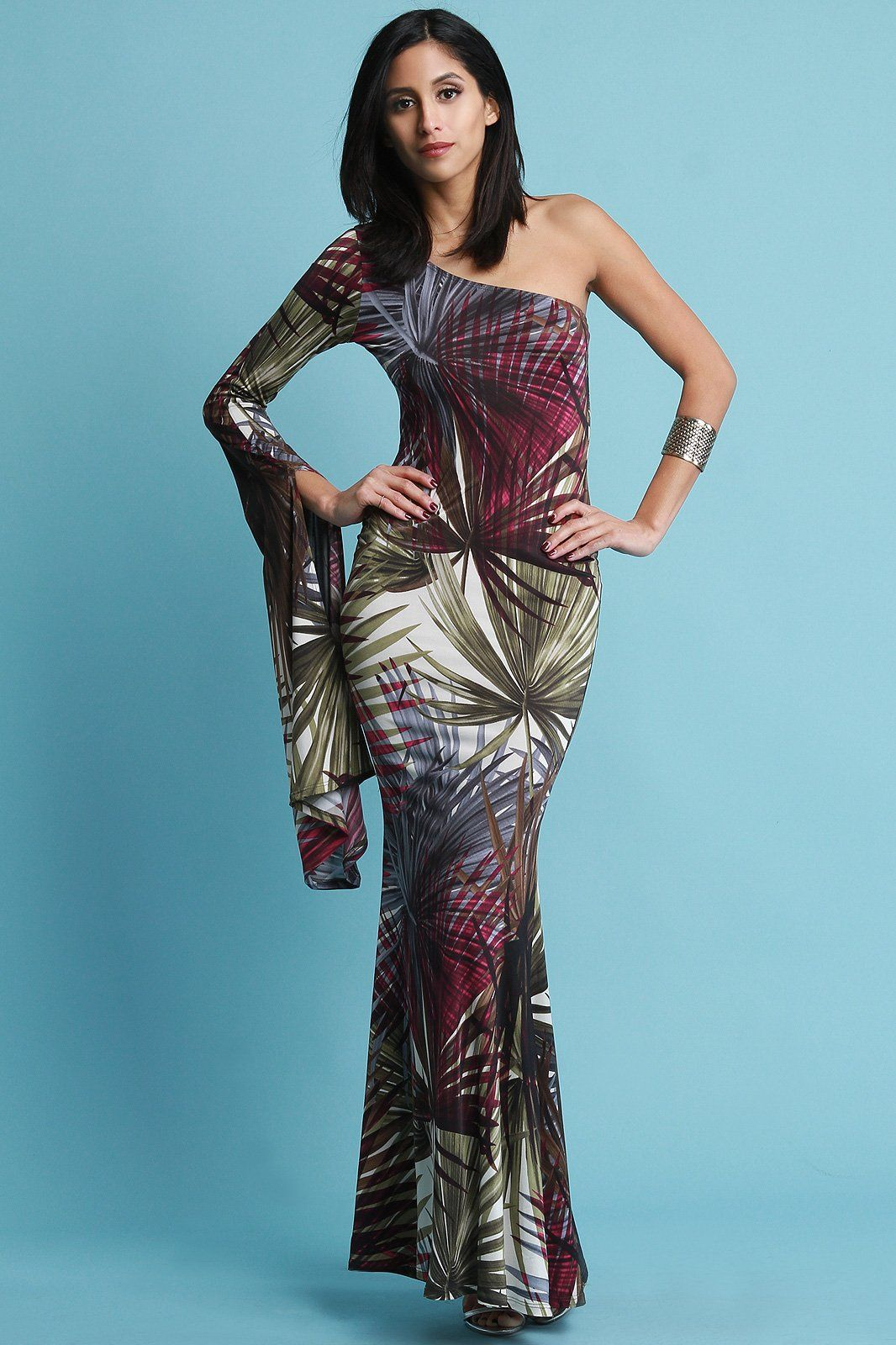 Tropical single bell sleeve maxi dress products