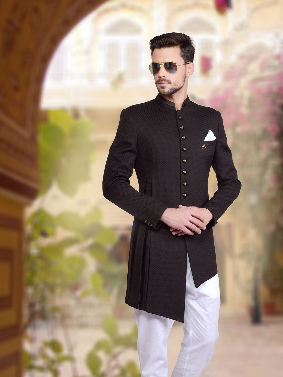 Shop plain black knitted indo western online from gfashion india