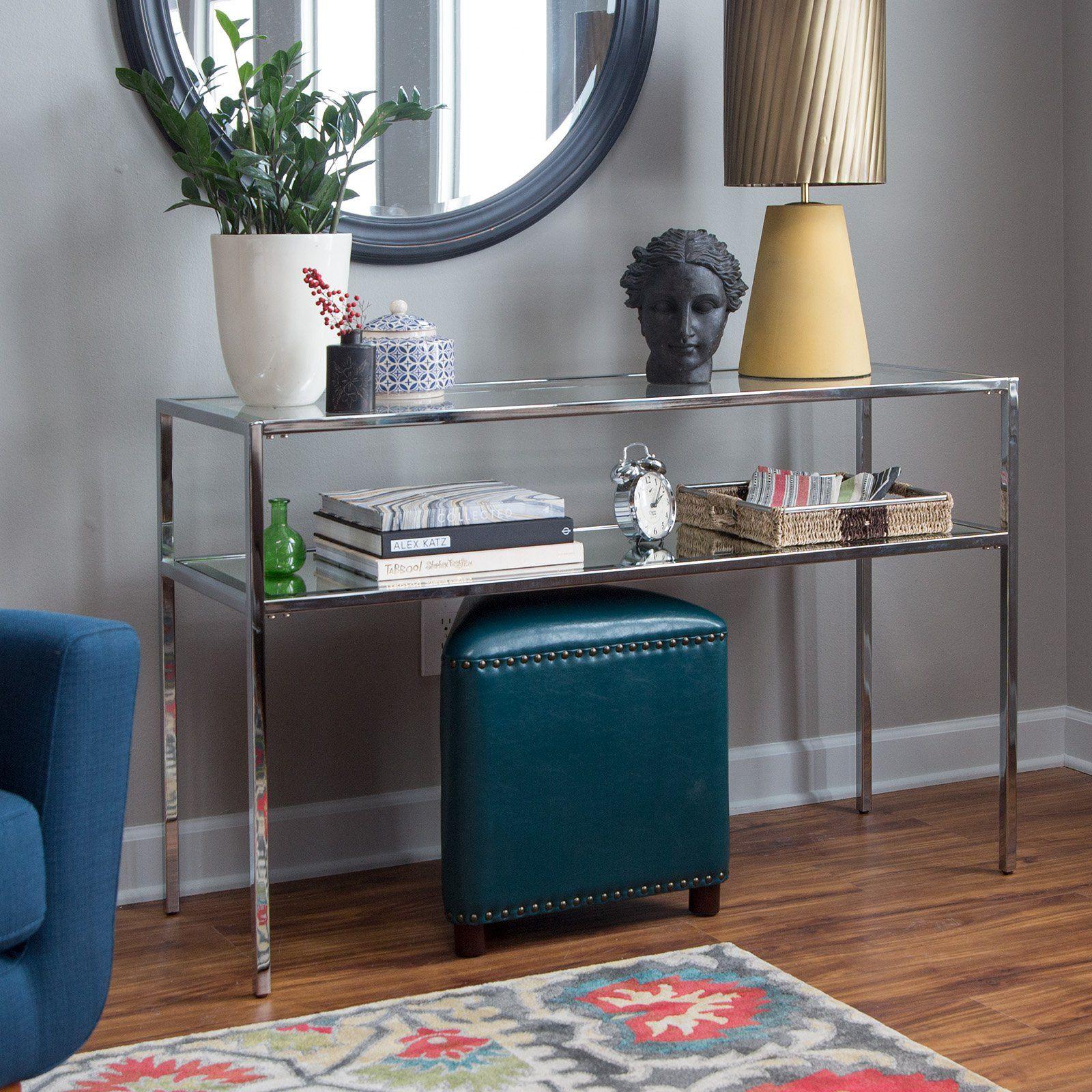 Belham Living Lamont Sofa Table Chrome Sofa Table Glass