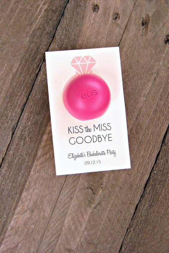 kiss the miss goodbye bridal shower engagement party or bachelorette party favor tags lip balm tags eos lip balm tags