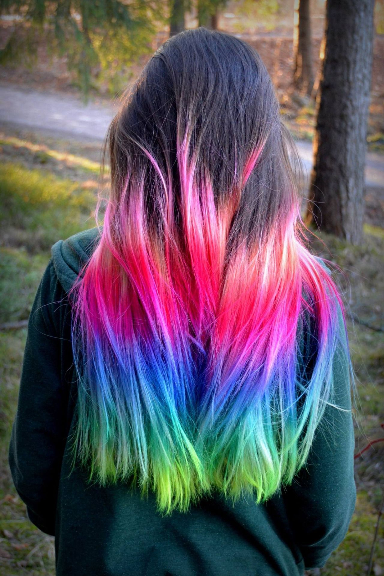Pink blue rainbow ombre dip dyed hair color inspiration ...