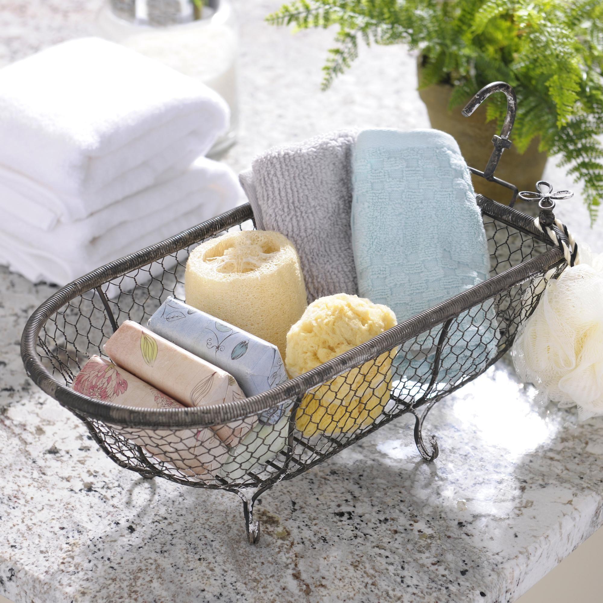 Metal Bathtub Basket | { Luxury Bathroom } | Pinterest | Bathtubs ...