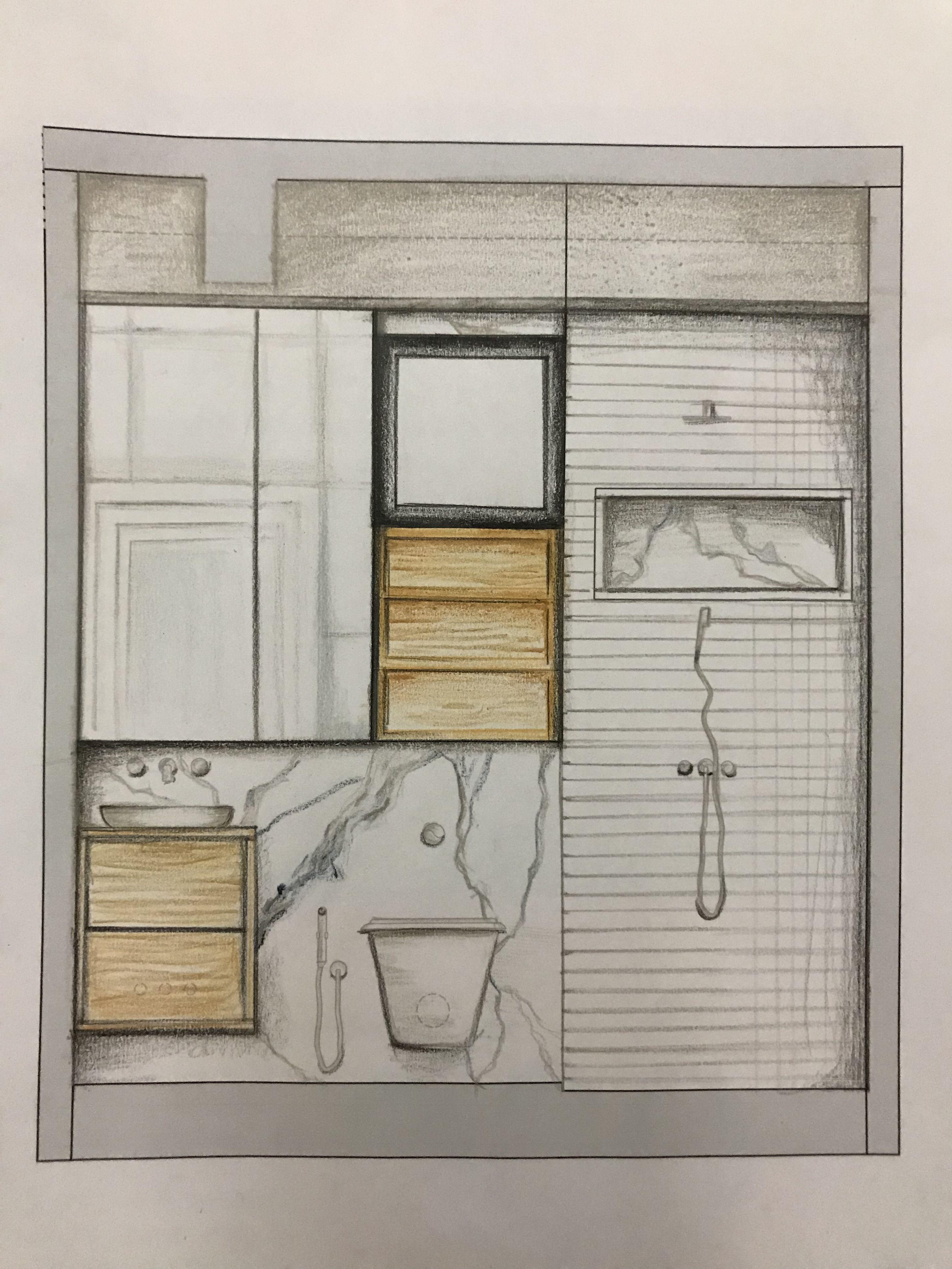 Hand rendered bathroom elevation   Interior design tools ...