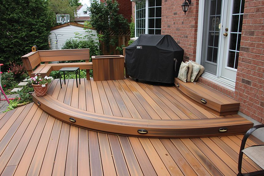 This curved low maintenance deck was built by hickory for Low maintenance decking