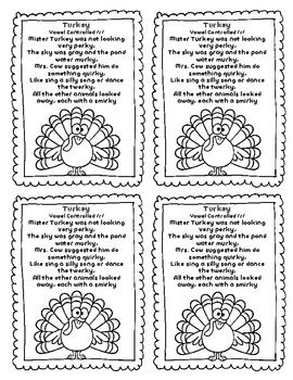 FREEBIE Thanksgiving Sound Loaded Rhyme/Poem Vocalic ~r