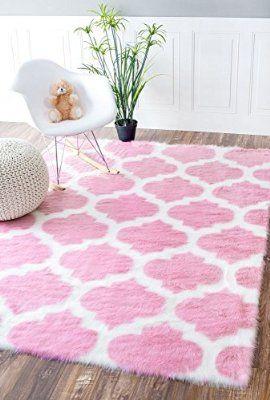 Faux Sheepskin Solid Soft And Plush Cloud Trellis Pink Kids Nursery Area Rugs 3