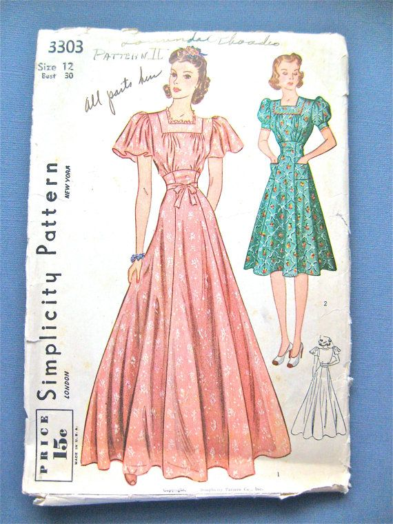 Vintage 1930s Simplicity 3303 Gown And Dress Sewing By Fancywork 30 00 Pattern Fashion Sewing Dresses Dress Sewing Pattern
