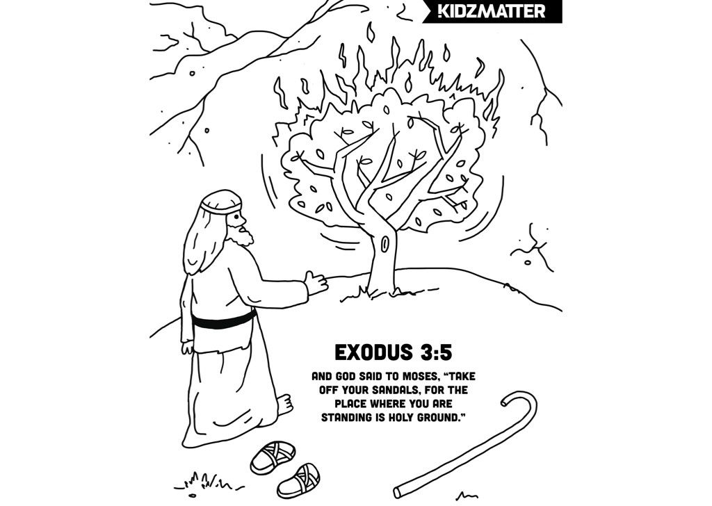Moses Burning Bush Coloring Page W Verse Burning Bush Coloring
