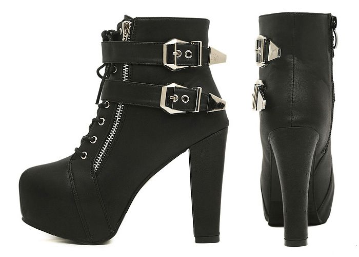 Wholesale Sexy Women's Short Boots With Black Chunky Heel and Buckle Design (BLACK,38), Boots - Rosewholesale.com