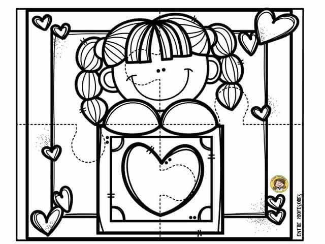 Hoja De Trabajo Dia Del Carino Amor Y Amistad Dibujos Manualidades Tarjeta Para Amiga