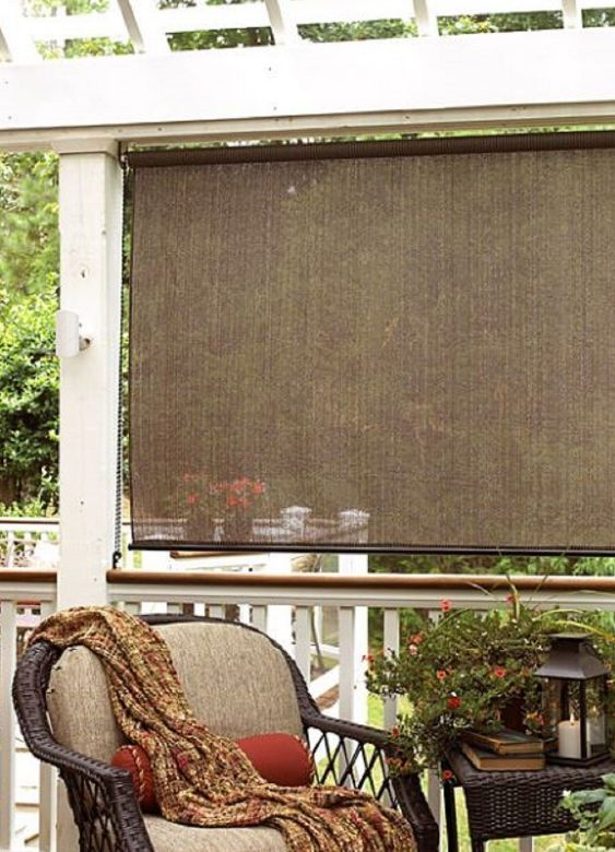Perfect Outdoor Shades For Patio Exterior Sun Block Porch Deck Roll Up Wood Bamboo  72x72 #Radiance
