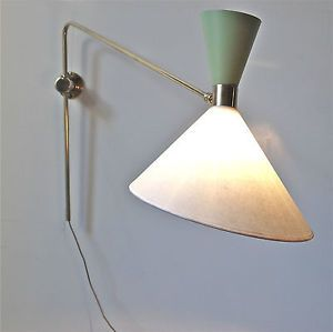 Antiques Wall Lamp Lamp Glass Brass Wood Vintage 50er The 60er Funnel