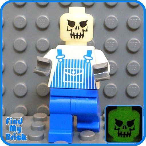 NEW GT137G Lego 3 Skeleton Minifigures The 2 Skulls in Dome - Glow In The Dark