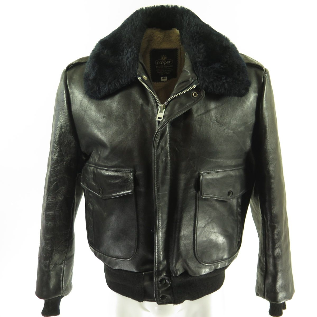 Vintage 60s Bomber Leather Jacket Mens 44 Flight Cooper Fleece Black Ideal The Clothing Vault Leather Jacket Men Leather Bomber Jacket Jackets [ 1200 x 1200 Pixel ]